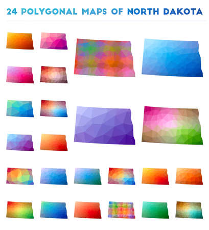 Set of vector polygonal maps of North Dakota. Bright gradient map of us state in low poly style. Multicolored North Dakota map in geometric style for your infographics.