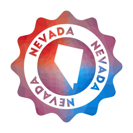 Nevada low poly  of the us state in geometric style. Multicolored polygonal Nevada rounded sign with map for your infographics.
