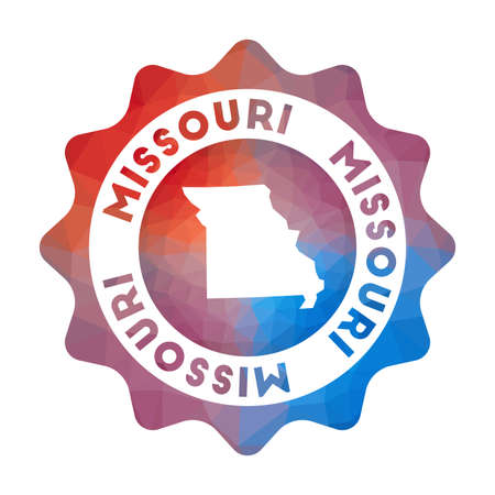 Missouri low poly   of the us state in geometric style. Multicolored polygonal Missouri rounded sign with map for your infographics.  イラスト・ベクター素材
