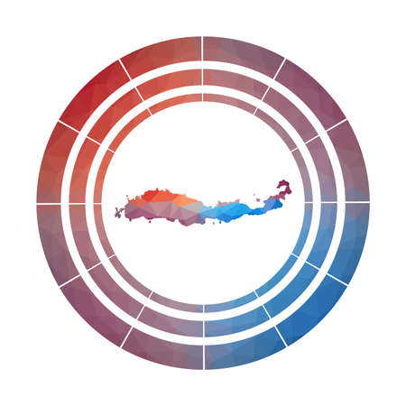 Flores badge. Bright gradient   of island in low poly style. Multicolored Flores rounded sign with map in geometric style for your infographics.