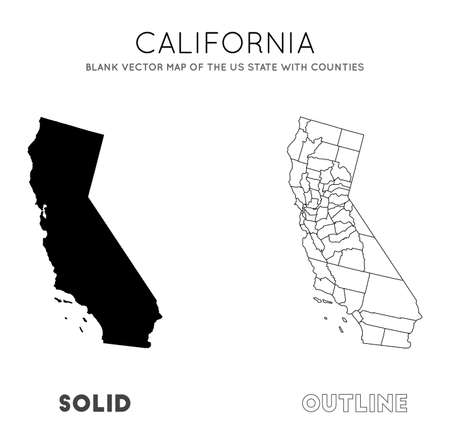 California map. Blank vector map of the Us State with counties. Borders of California for your infographic. Vector illustration. Ilustrace