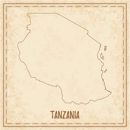 Pirate map of Tanzania. Blank vector map of the Country. Vector illustration.  イラスト・ベクター素材