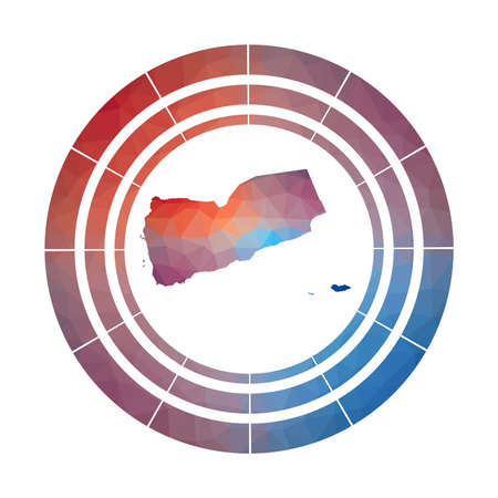 Yemen badge. Bright gradient country in low poly style. Multicolored Yemen rounded sign with map in geometric style for your infographics.