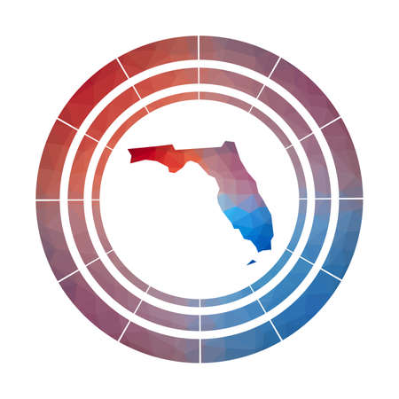 Florida badge. Bright gradient  of us state in low poly style. Multicolored Florida rounded sign with map in geometric style for your infographics.  イラスト・ベクター素材