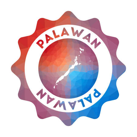 Palawan low poly  of the island in geometric style. Multicolored polygonal Palawan rounded sign with map for your infographics.