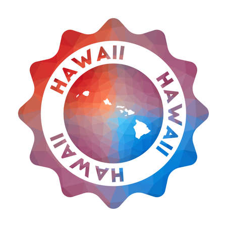 Hawaii low poly  of the island in geometric style. Multicolored polygonal Hawaii rounded sign with map for your infographics. Иллюстрация