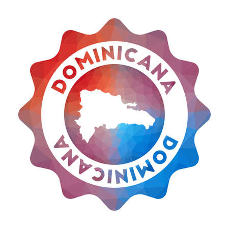 Dominicana low poly of the country in geometric style. Multicolored polygonal Dominicana rounded sign with map for your infographics.