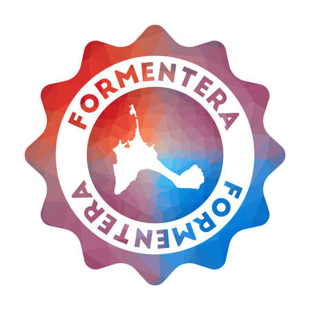 Formentera low poly   of the island in geometric style. Multicolored polygonal Formentera rounded sign with map for your infographics.