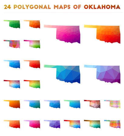 Set of vector polygonal maps of Oklahoma. Bright gradient map of us state in low poly style. Multicolored Oklahoma map in geometric style for your infographics.