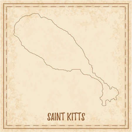 Pirate map of Saint Kitts. Blank vector map of the Island. Vector illustration.