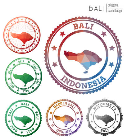 Bali badge. Colorful polygonal island symbol. Multicolored geometric Bali   set. Vector illustration.