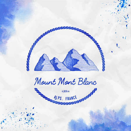 Mont Blanc  Round trekking blue vector insignia. Mont Blanc in Alps, Italy outdoor adventure illustration. Climbing, trekking, hiking, mountaineering and other extreme activities watercolor Illustration