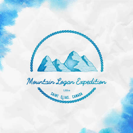 Logan  Round trekking turquoise vector insignia. Logan in Saint Elias, Canada outdoor adventure illustration.