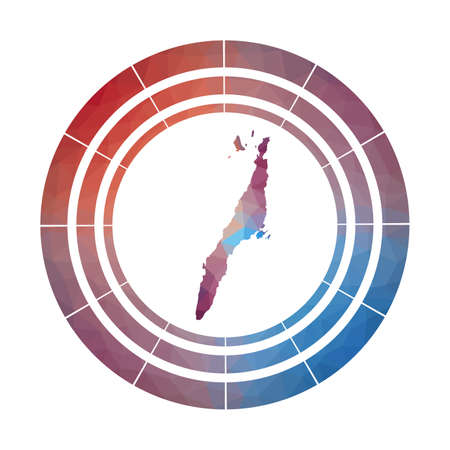 Cebu badge. Bright gradient of island in low poly style. Multicolored Cebu rounded sign with map in geometric style for your infographics.