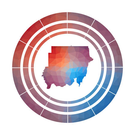 Sudan badge. Bright gradient  of country in low poly style. Multicolored Sudan rounded sign with map in geometric style for your infographics. Çizim