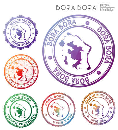 Bora Bora badge. Colorful polygonal island symbol. Multicolored geometric Bora Bora   set. Vector illustration.  イラスト・ベクター素材