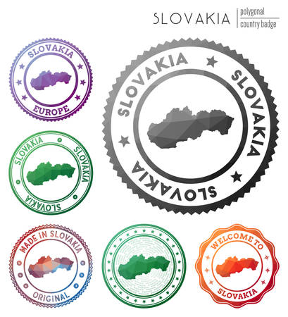Slovakia badge. Colorful polygonal country symbol. Multicolored geometric Slovakia  set. Vector illustration.  イラスト・ベクター素材