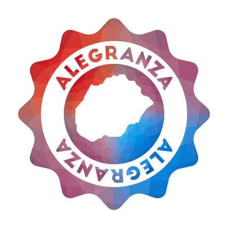 Alegranza low poly  of the island in geometric style. Multicolored polygonal Alegranza rounded sign with map for your infographics.  イラスト・ベクター素材