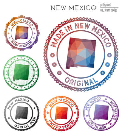 New Mexico badge. Colorful polygonal us state symbol. Multicolored geometric New Mexico   set. Vector illustration.