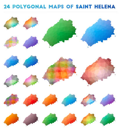 Set of vector polygonal maps of Saint Helena. Bright gradient map of island in low poly style. Multicolored Saint Helena map in geometric style for your infographics.