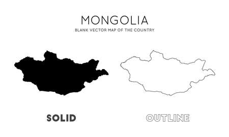 Mongolia map. Blank vector map of the Country. Borders of Mongolia for your infographic. Vector illustration. Çizim
