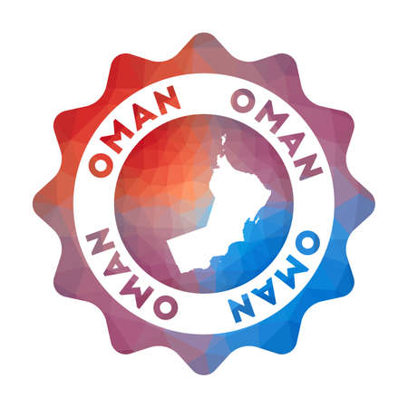 Oman low poly   of the country in geometric style. Multicolored polygonal Oman rounded sign with map for your infographics. Çizim