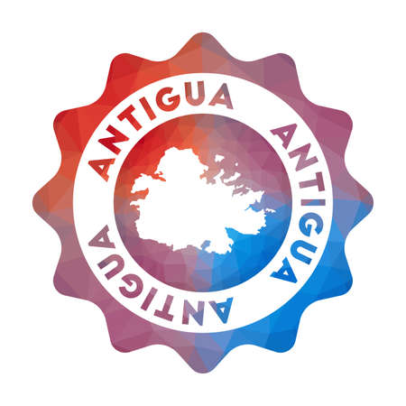 Antigua low poly of the island in geometric style. Multicolored polygonal Antigua rounded sign with map for your infographics.