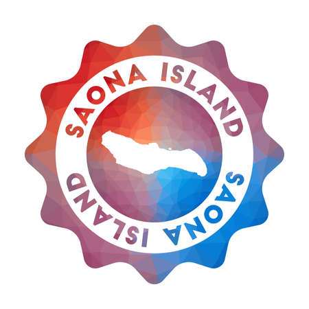 Saona Island low poly of the island in geometric style. Multicolored polygonal Saona Island rounded sign with map for your infographics. Çizim