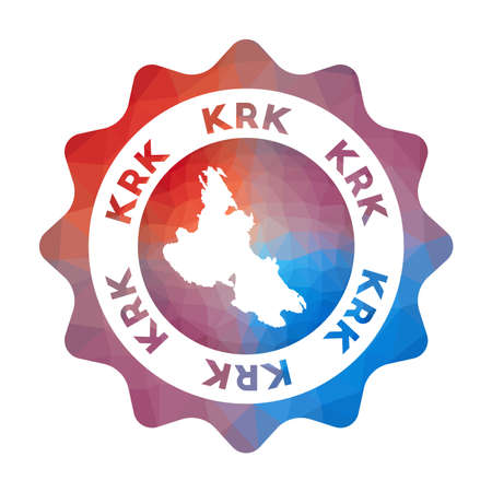 Krk low poly  of the island in geometric style. Multicolored polygonal Krk rounded sign with map for your infographics.