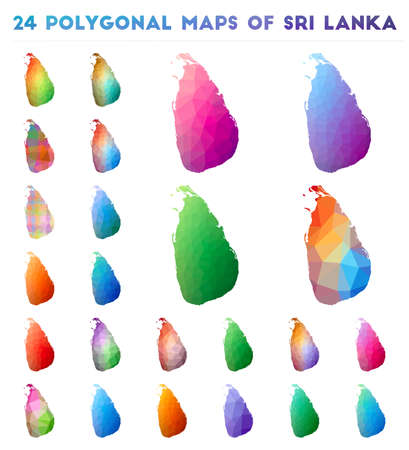Set of vector polygonal maps of Sri Lanka. Bright gradient map of country in low poly style. Multicolored Sri Lanka map in geometric style for your infographics.  イラスト・ベクター素材
