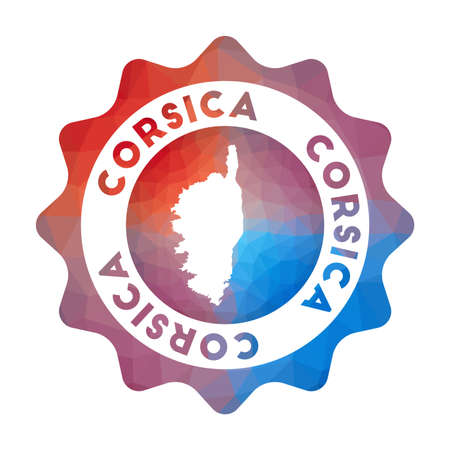 Corsica low poly  of the island in geometric style. Multicolored polygonal Corsica rounded sign with map for your infographics.  イラスト・ベクター素材