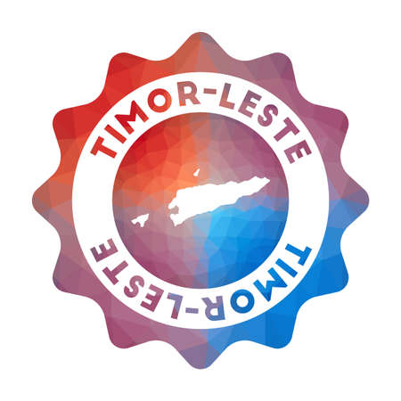 Timor-Leste low poly   of the country in geometric style. Multicolored polygonal Timor-Leste rounded sign with map for your infographics.