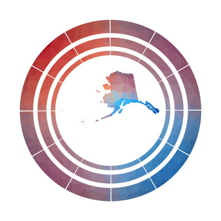 Alaska badge. Bright gradient  of us state in low poly style. Multicolored Alaska rounded sign with map in geometric style for your infographics.  イラスト・ベクター素材