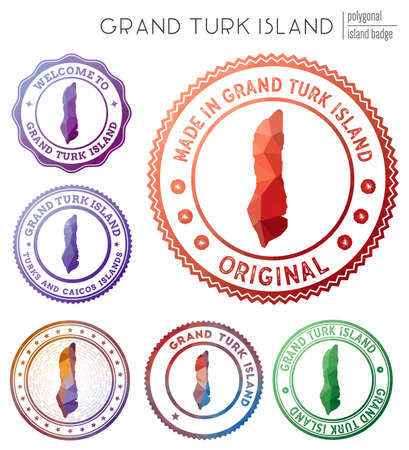 Grand Turk Island badge. Colorful polygonal island symbol. Multicolored geometric Grand Turk Island  set. Vector illustration.