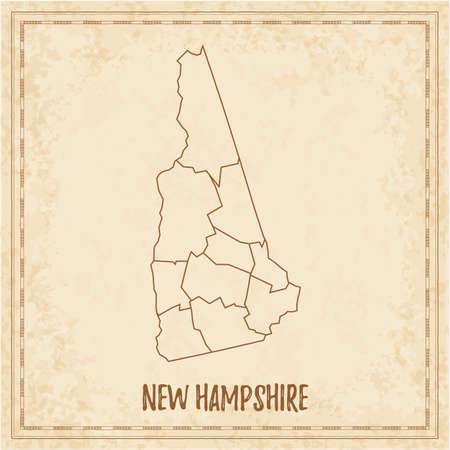 Pirate map of New Hampshire. Blank vector map of the Us State with counties. Vector illustration. Иллюстрация