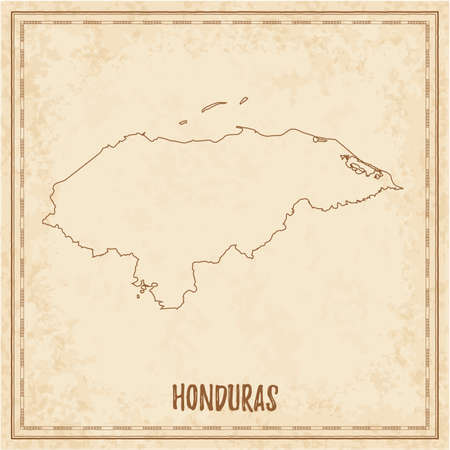 Pirate map of Honduras. Blank vector map of the Country. Vector illustration.  イラスト・ベクター素材