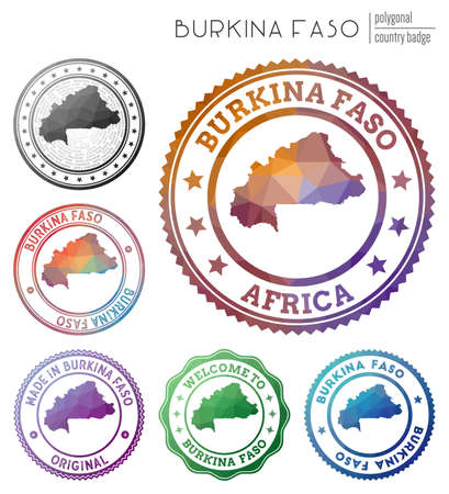 Burkina Faso badge. Colorful polygonal country symbol. Multicolored geometric Burkina Faso   set. Vector illustration. Çizim