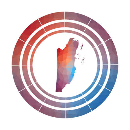 Belize badge. Bright gradient  of country in low poly style. Multicolored Belize rounded sign with map in geometric style for your infographics.