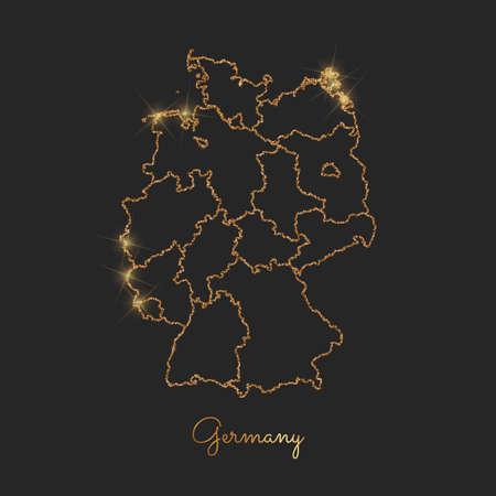 Germany region map: golden glitter outline with sparkling stars on dark background. Vector illustration.