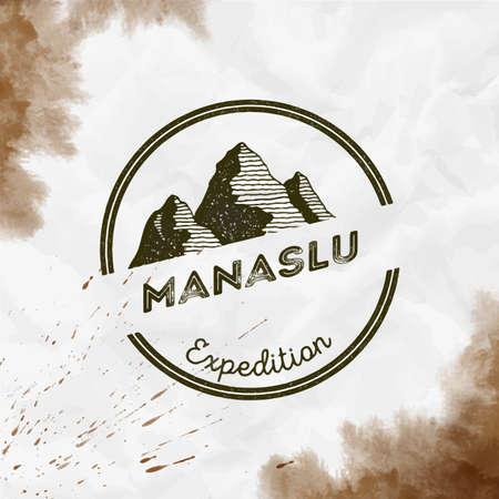 Manaslu  round expedition sepia vector insignia. Manaslu in Himalayas, Nepal outdoor adventure illustration.