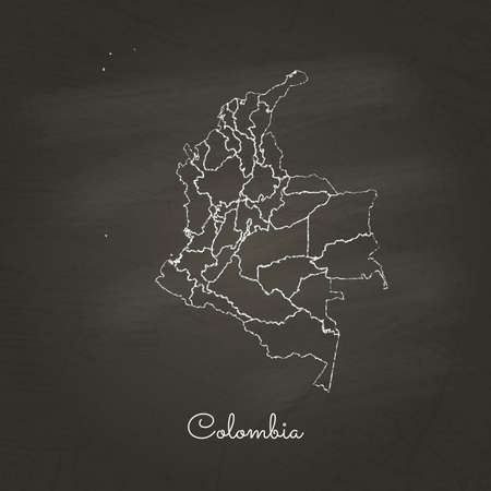 Colombia region map: hand drawn with white chalk on school blackboard texture. Vector illustration.