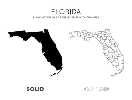 Florida map. Blank vector map of the Us State with counties. Borders of Florida for your infographic. Vector illustration.  イラスト・ベクター素材