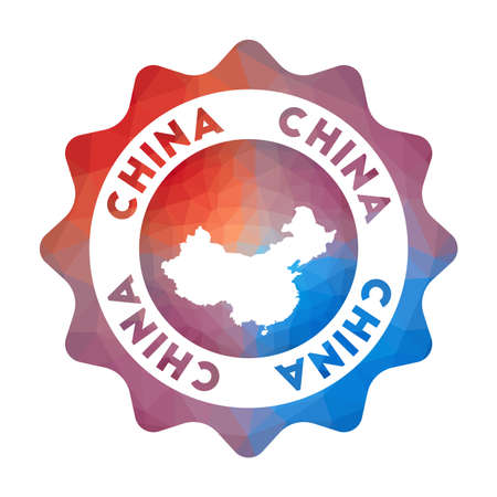 China low poly  of the country in geometric style. Multicolored polygonal China rounded sign with map for your infographics.
