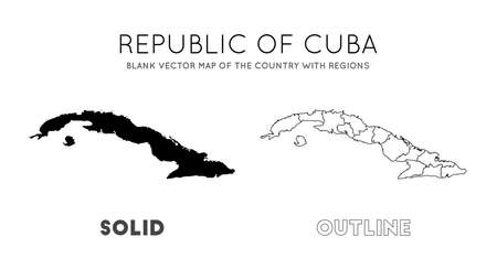 Cuba map. Blank vector map of the Country with regions. Borders of Cuba for your infographic. Vector illustration. Stock Illustratie