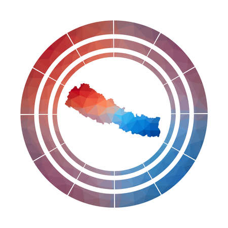 Nepal badge. Bright gradient  of country in low poly style. Multicolored Nepal rounded sign with map in geometric style for your infographics.