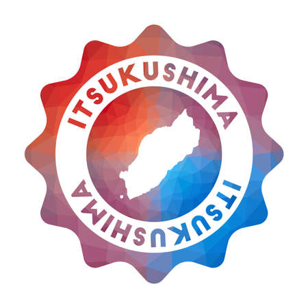 Itsukushima low poly   of the island in geometric style. Multicolored polygonal Itsukushima rounded sign with map for your infographics.