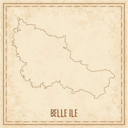 Pirate map of Belle Ile. Blank vector map of the Island. Vector illustration.