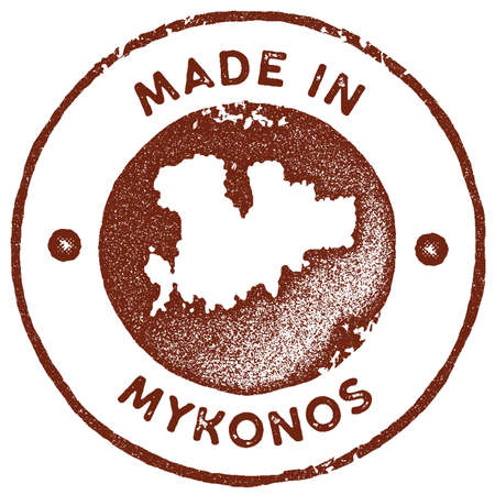 Mykonos map vintage stamp. Retro style handmade label, badge or element for travel souvenirs. Red rubber stamp with island map silhouette. Vector illustration. Ilustração