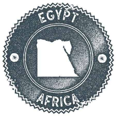 Egypt map vintage stamp. Retro style handmade label, badge or element for travel souvenirs. Dark blue rubber stamp with country map silhouette. Vector illustration. Imagens - 128673778