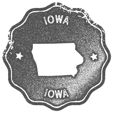Iowa map vintage stamp. Retro style handmade label, badge or element for travel souvenirs. Grey rubber stamp with us state map silhouette. Vector illustration. Ilustração